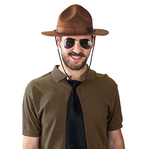 Tigerdoe State Trooper Costume - 4 Pc Set - Canadian Mountie Costume - Park Ranger Costume - Highway Patrol Costume Brown