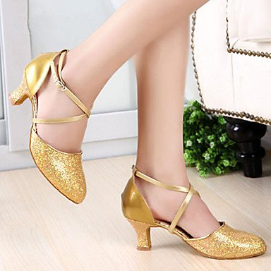 XIAMUO Nicht anpassbare Damen Tanzschuhe Latein Heels Stiletto Heel Praxis/Professional Schwarz/Rot/Silber/Gold, Schwarz, UNS 6,5-7/EU 37/ UK 4,5-5/CN 37