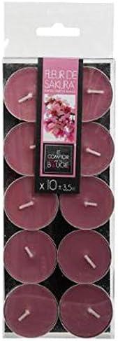 Comptoir de la Bougie Lot de 10 Bougies Chauffe-Plat Parfum/ées 3,7cm Sakura