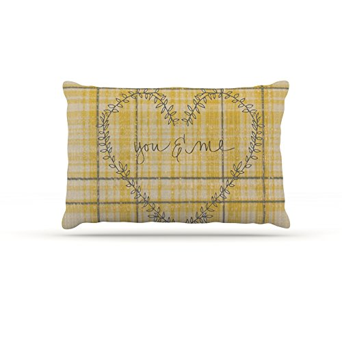 30 by 40\ Kess InHouse Robin Dickinson You & Me  Yellow Fleece Dog Bed, 30 by 40