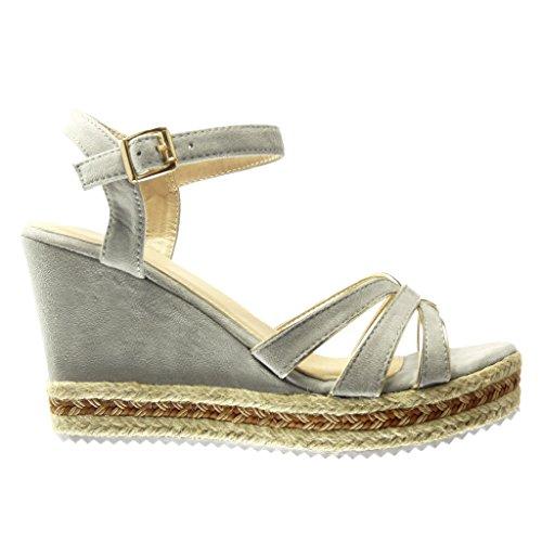 Angkorly - Chaussure Mode Espadrille Sandale plateforme femme lanière multi-bride corde Talon compensé plateforme 10 CM - Gris