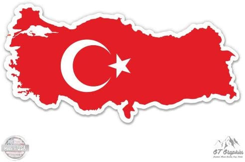 GT Graphics Turkey Map Flag Country Shape Vinyl Sticker Waterproof Decal