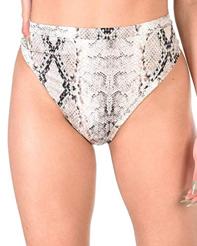 iHeartRaves Grey Snakeskin Qween Cobra High Waisted Thong Bottoms (Small)