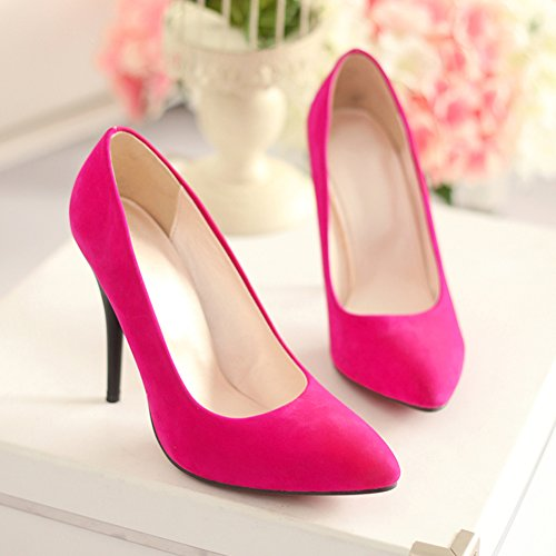 MINIVOG Stiletto High Heels Suede Pleather Womens Dress Pumps Shoes Pink J2JQACZH