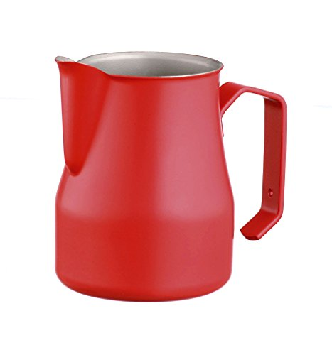 Motta 50cl Stainless Steel Professional Milk Pitcher, 17 Fluid Ounce, Red