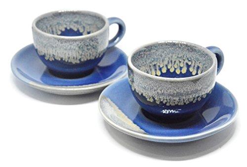 Set of 2 Porcelain Coffee Espresso Shot Cup & Saucer Set Mini Teacup Ceramic Art Stoneware Gifts, 2 oz. (Blue) (Cups Espresso Ceramic)