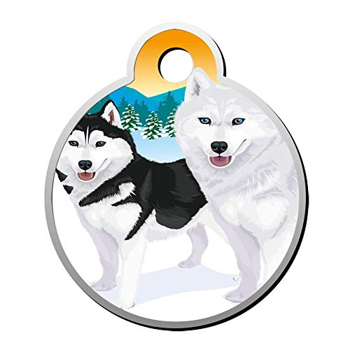 - GPZHM Customized Sled Dog Pet ID Tag - Round Dog Tag & Cat Tags