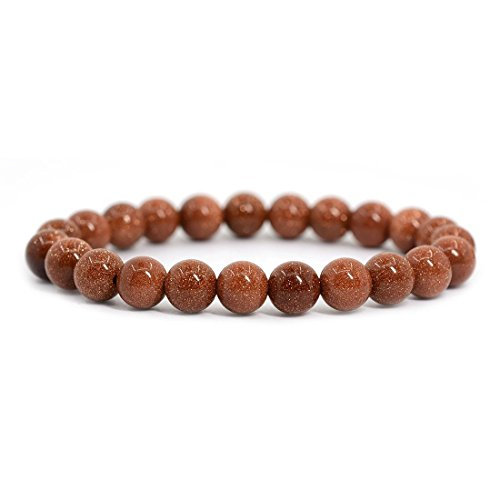 jennysun2010 Handmade Natural Gold Sand Stone Gemstone Smooth Round Loose Beads 8mm Stretchy Bracelet Healing  7'' Inches Wrist ( 23pcs Beads in the Bracelet ) (Handmade Sand)