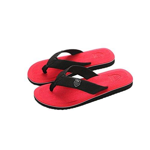 Inkach Mens Sandali Estivi - Moda Infradito Pantofole Da Bagno Spiaggia Scarpe Basse Rosse