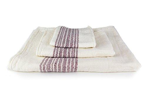 Kontex Organic Cotton Towels From Imabari, Japan, Maroon (Complete Set) by IPPINKA