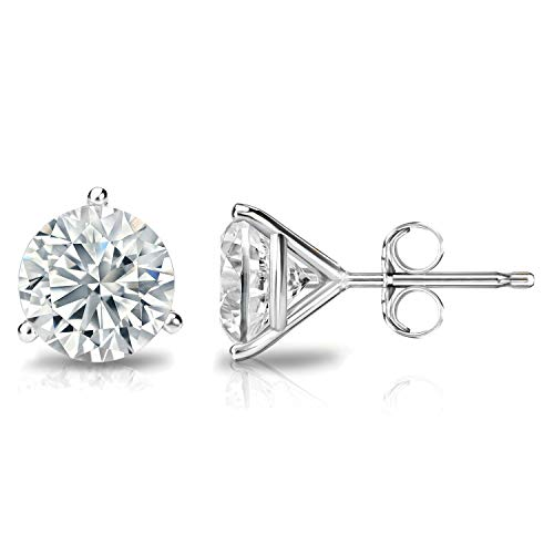 14K Gold Round Stud Earring,Solitaire Round Cubic Zirconia, CZ Stud Earrings with Gold butterfly Pushbacks,3MM-8MM(8WG) ()