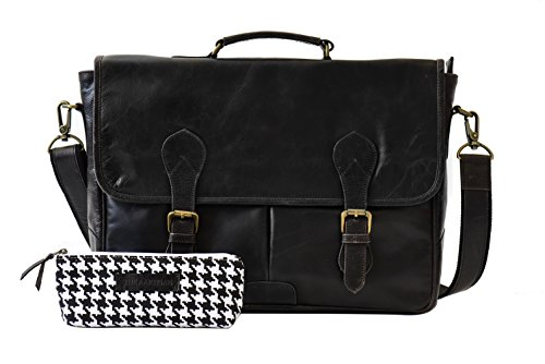 The Aartisan 16.5'' Vintage Pocketed Genuine Leather Messenger Laptop Briefcase (Brompton Black) Shoulder Canvas Leather Satchel Bag Free Gift Included Multi Purpose Use by THE AARTISAN