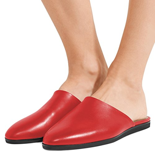 Walking Sandals 4 Flats 15 US Women Toe Heel Round Comfortable FSJ Low Mules Casual Red Size Shoes X1vnU