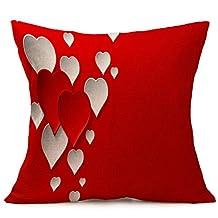 Lovers Painting Cute Sofa Cushion Cover Throw Waist Pillow Case Home Decor 43cmX44cm (E)