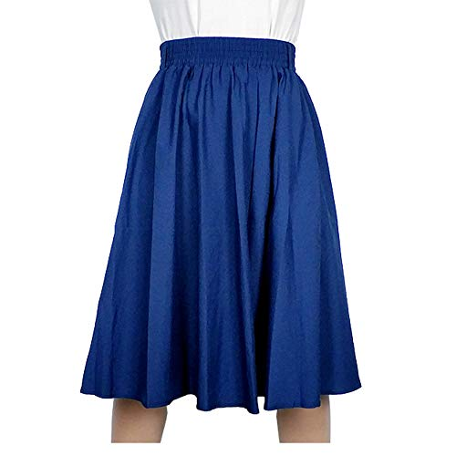 Kaachli Women's Casual Blue A line Midi Pull on Elastic Waist Fall Skirt (L, Blue)