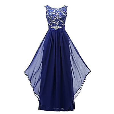 Grace Lee Women's Long Evening Gowns Lace Round Neck Prom Dresses