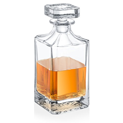 - Fifth Avenue Crystal Lawrence Square Non-leaded Crystal Whiskey Decanter With Glass Stopper