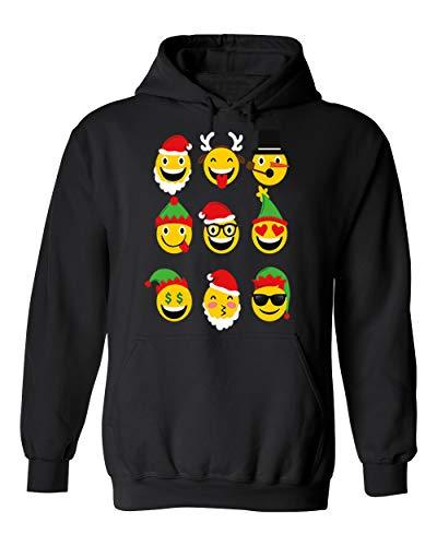 Christmas Animated Emoji Faces Unisex Pullover Hoodie Hooded (Black,3X-Large)]()