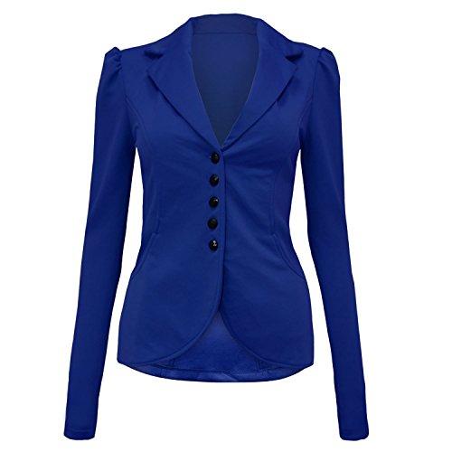 Royal Longues Blazer Fast Fashion Bleu Bouton Plaine Manches Veste Femmes Ffz6q