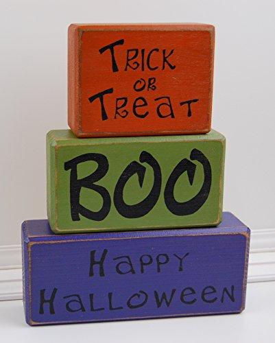 Trick Or Treat BOO Happy Halloween - Primitive Wood Sign Shelf Sitting Blocks-Holiday, Seasonal, Halloween, Fall, Home Decor