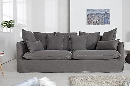 Casa-Padrino Salón de diseño Sofá de 3 plazas Gris - Calidad ...