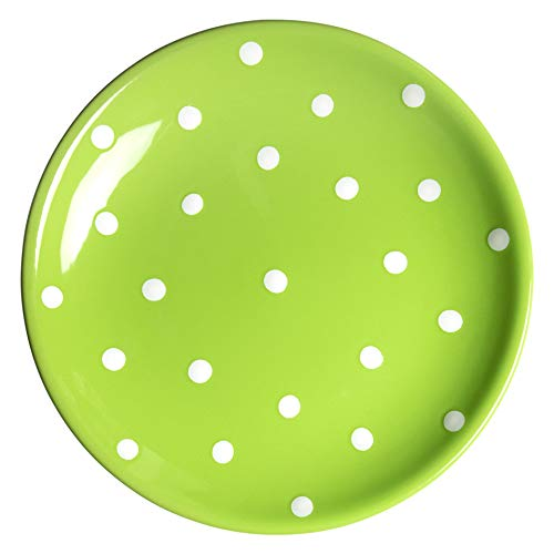 (City to Cottage Handmade Lime Green and White Pottery Polka Dot Glazed 7.9inch/20cm Side Plate, Dessert Plate, Unique Ceramic Dinnerware, Housewarming Gift)