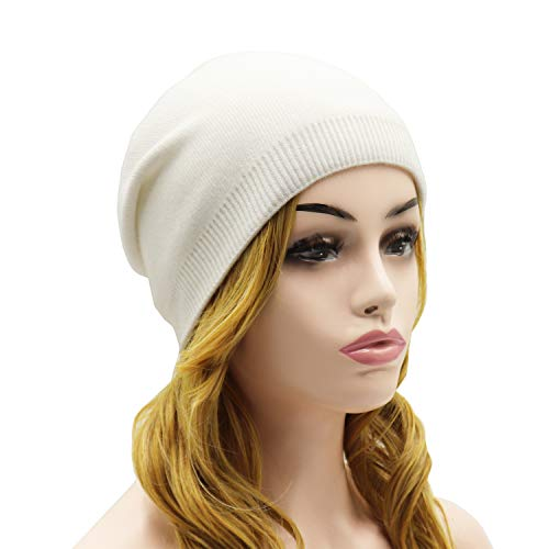 Wheebo Beanie Hat Cashmere Stretch Skull Ski Cap for Women Men -Winter Knit Hat Solid Color Unisex Style (White)