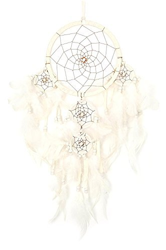 JewelryVolt Large Hanging Windchime Dreamcatcher Brown Feathers and Beads - Solid White