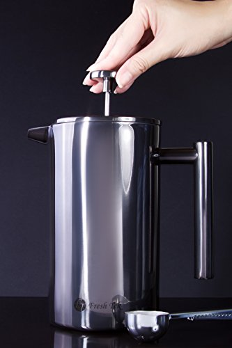 Stainless Steel French Press Coffee Maker. Insulated Double Wall. Makes 8 Cups, No Plastic or ...