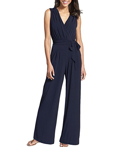 Firmeza Lady Sleeveless V Neck Belted Flares Pant Jumpsuit Romper for Women