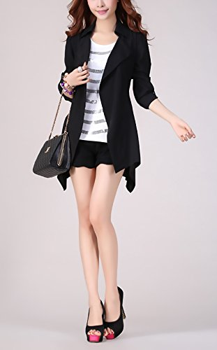 Nero Cute Tops Longsleeve Mieuid Casuale Irregular Autunno Giubbotto Orlare Cappotto Chic Giacche Giacca Elegante Donna Oversize Puro Colore Revers Baggy XqSUqHz