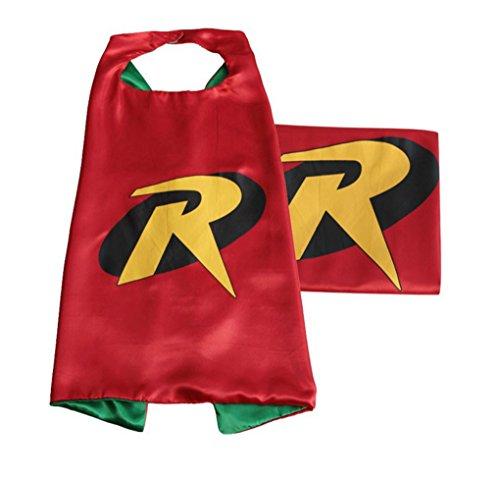 Rush Dance Deluxe Comics Satin Unisex Superheros Cape (Small, Red & Green (Robin)) ()