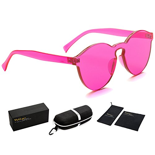 Dollger Pink Womens Sunglasses One Piece Colorful Transparent Round - Glass Contact Lenses Made Of