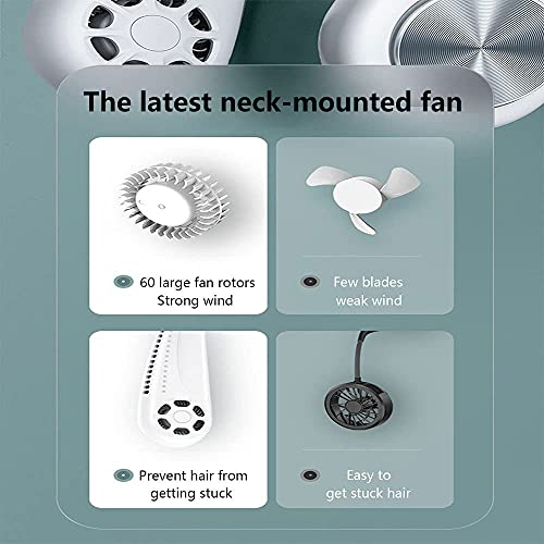 Portable Neck Fan, Phepten Personal Fan with 3 Speeds, Bladeless Design, USB Rechargeable Battery, Neck Cooling Fan for Sporting & Woring -White
