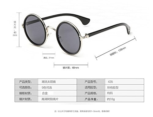 en Grise de lunettes soleil Lennon cercle vintage du Feuille C rond inspirées style polarisées métallique retro gxfawqxz