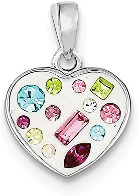 15mm x 15mm Sonia Jewels Sterling Silver Stellux Crystal Heart Pendant