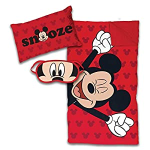 Jay Franco Disney Mickey Mouse 3 Piece Slumber Set, Red