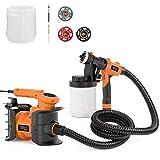 Paint Sprayer, HVLP 1100ml/min,800W Paint Gun, with 2 X 1200ml Replaceable & Detachable