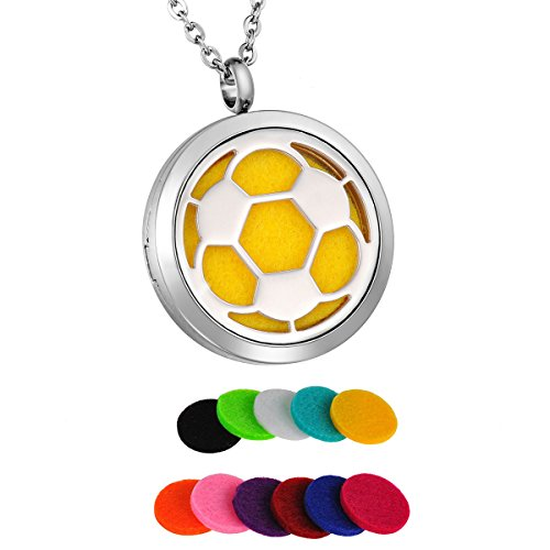 HooAMI Aromatherapy Essential Oil Diffuser Necklace Stainless Steel Soccer Football Locket Pendant Jewelry,12 Refill Pads