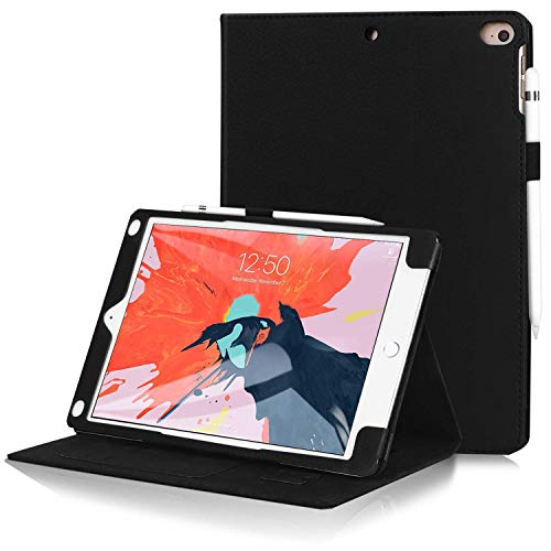 FYY Case for iPad 9.7 Case 2018/2017 iPad Case - Premium PU Leather Case Smart Auto Wake/Sleep Cover with Hand Strap, Card Slots for Apple iPad 9.7 inch, Also Fit iPad Air 2 / iPad Air Black