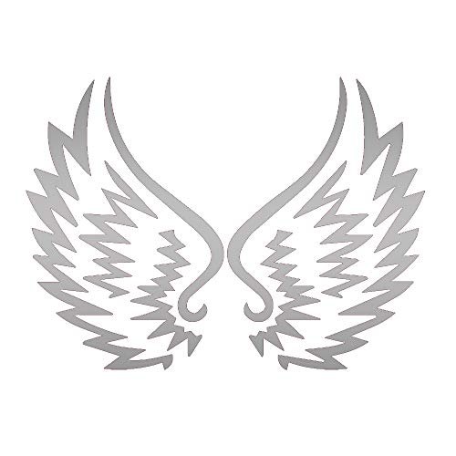 (Tribal Angel Wings (Metallic Silver) (Set of 2) Premium Waterproof Vinyl Decal Stickers for Laptop Phone Accessory Helmet CAR Window Bumper Mug Tuber Cup Door Wall Decoration)