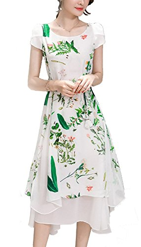 Olrain Womens Vintage Floral Printed Cap Sleeve Tea Dress with Belt 12 Green