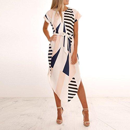 Beach La Blanco Maxi Talla Vestido Altura Impresión Grande Lady Tobillo Mujer Verano Del A Rayas Bohemio Overdose qnaw7UXq