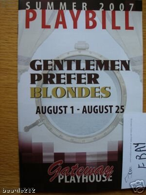 Brand New Color Playbill from Gentlemen Prefer Blondes Gateway Playhouse in NY starring, ELIZABETH STANLEY ERIN CROUCH PAUL CLAUSEN MICHAEL HAYWARD-JONES ()