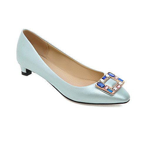 Allhqfashion Mujeres Low-heels Solid Pull-on Soft Material Square Closed Toe Bombas-zapatos Azul