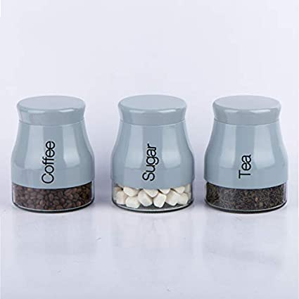 Eurotrade W Ltd Set Of 3 Kitchen Storage Canisters Tea Coffee Sugar Jars Pots Containers Caddy Set Grey