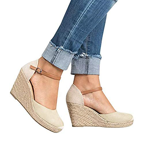 Fashare Womens Closed Toe Espadrilles Platform Heel Wedge Shoes Ankle Strap -