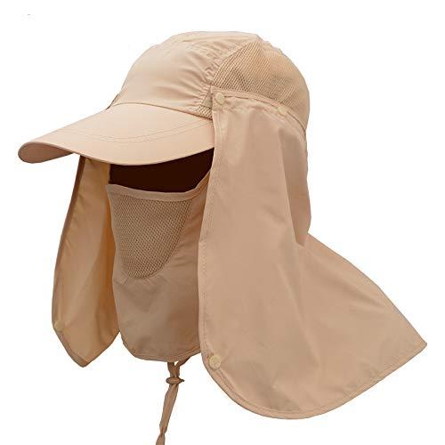 Frmarche Chapeau de Soleil en Plein Air Réglable Chapeau d'été Etanche Bonnet de Pêche Randonnée Camping Nautique Anti Moustique Casquette de Visière Pêcheur