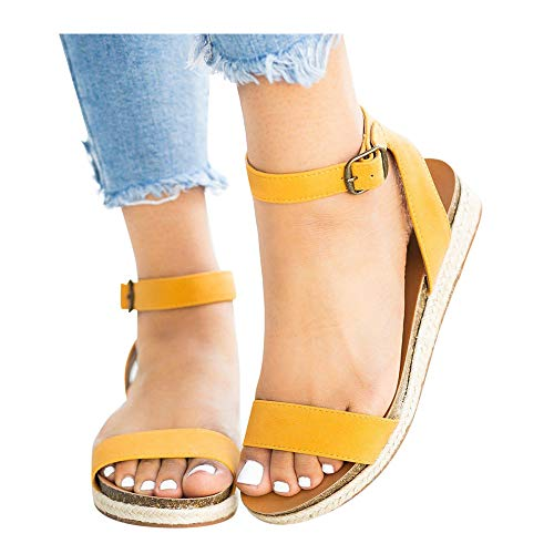 Women's Leopard Print Flats Open Toe Ankle Strap Buckle Sandals Thick-Soled Cork Slippers (Yellow -2, US:9.0)