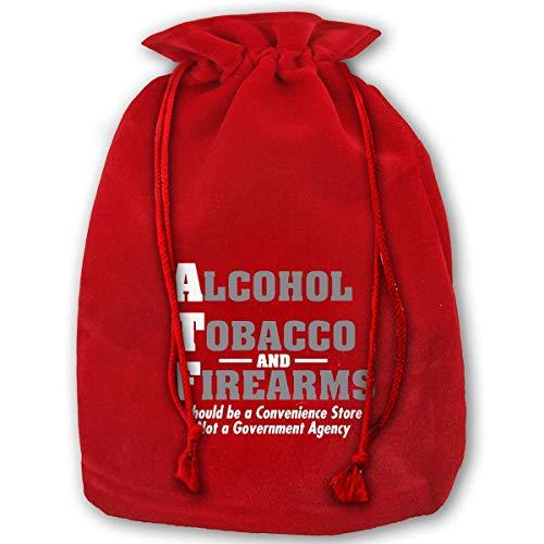 Kelysun Santa Gift Bags Alcohol Tobacco Firearms Guns ATF X'Mas Red Gift Bags Kids Presents Xmas Personalization